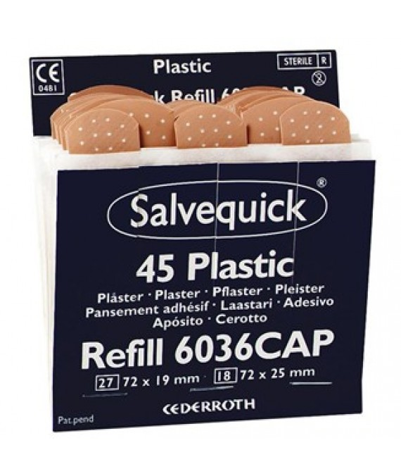 Salvequick Wproof Air Perm Plasters Refill 6 x 45 (6036)
